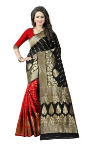 Mahadev Enterprises Red & Black Cotton Jacquard Saree With Blouse 2bvm14