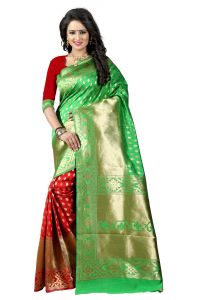 Mahadev Enterprises Green & Red Cotton Jacquard Saree With Blouse 3bvm24