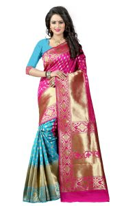 Mahadev Enterprises Pink & Firozi Cotton Jacquard Saree With Blouse 3bvm26
