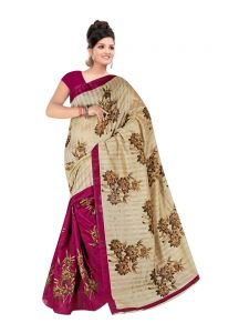 Mahadev Enterprises Beige & Maroon Colour Bhagalpuri Silk Saree Meb_47