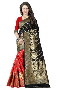 Mahadev Enterprises Black & Red Cotton Jacquard Saree With Blouse 4bvm30