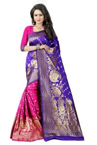 Mahadev Enterprises Blue & Pink Cotton Jacquard Saree With Blouse 4bvm31