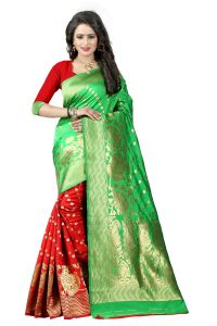 Mahadev Enterprises Green & Red Cotton Jacquard Saree With Blouse 4bvm32