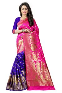 Mahadev Enterprises Pink & Blue Cotton Jacquard Saree With Blouse 4bvm33