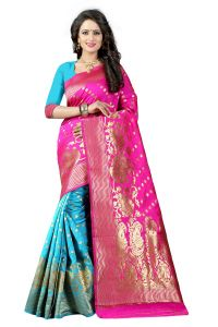 Mahadev Enterprises Pink & Firozi Cotton Jacquard Saree With Blouse 4bvm34