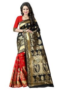 Mahadev Enterprises Black & Red Cotton Jacquard Saree With Blouse 5bvm38