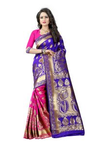 Mahadev Enterprises Blue & Pink Cotton Jacquard Saree With Blouse 5bvm39