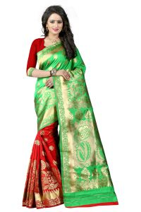 Mahadev Enterprises Green & Red Cotton Jacquard Saree With Blouse 5bvm40