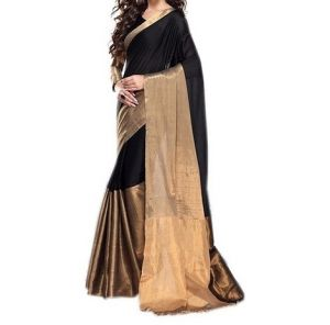 Mahadev Enterprises Black Color Bhagalpuri Cotton Silk Saree With Unstitched Blouse Pics Ssc 4784