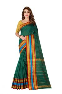 Mahadev Enterprise Cotton Silk Teal Green Saree With Running Blouse Pic(code-atm8070_09)