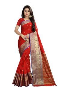 Mahadev Enterprises Red Cotton Silk Weaving Saree With Running Blouse Pics ( Code - Bbc114a )