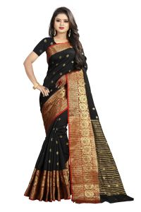 Mahadev Enterprises Black Cotton Silk Weaving Saree With Running Blouse Pics ( Code - Bbc114c )