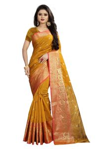 Mahadev Enterprises Gold Cotton Silk Weaving Saree With Running Blouse Pics ( Code - Bbc114f )