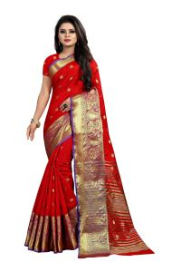 Mahadev Enterprises Red Cotton Silk Jequard Border Weaving Saree With Running Blouse Pics ( Code - Bbc115a )