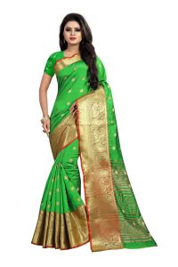 Mahadev Enterprises Perot Green Cotton Silk Jequard Border Weaving Saree With Running Blouse Pics ( Code - Bbc115b )