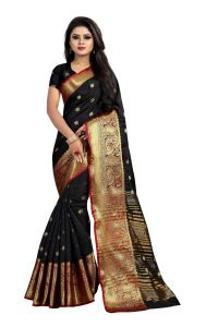 Mahadev Enterprises Black Cotton Silk Jequard Border Weaving Saree With Running Blouse Pics ( Code - Bbc115c )