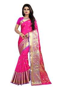 Mahadev Enterprises Pink Cotton Silk Jequard Border Weaving Saree With Running Blouse Pics ( Code - Bbc115d )