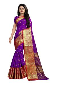 Mahadev Enterprises Purple Cotton Silk Jequard Border Weaving Saree With Running Blouse Pics ( Code - Bbc115g )