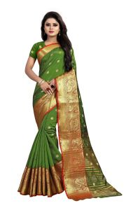 Mahadev Enterprises Green Cotton Silk Jequard Border Weaving Saree With Running Blouse Pics ( Code - Bbc115h )