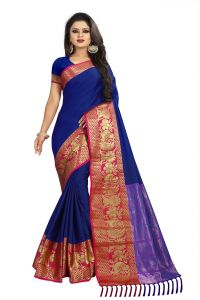 Mahadev Enterprise Blue Cotton Saree With Running Blouse ( Bbc117a)