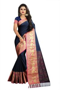 Mahadev Enterprise Navy Blue Cotton Saree With Running Blouse ( Bbc117f)