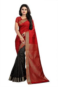 Mahadev Enterprise Red And Black Banarasi Silk 2 Colour Saree With Running Blouse Pic(code-bbc118c)
