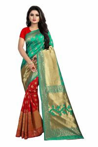 Mahadev Enterprise Turquoise And Red Banarasi Silk Rich Pallu 2 Colour Saree With Running Blouse Pic(code-bbc119a)