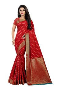 Mahadev Enterprise Red Banarasi Silk Saree With Running Blouse Pic(code-bbc121c)