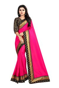 Mahadev Enterprises Pink Paper Silk Saree With Jacquard Blouse Pics ( Code -bbc122d)