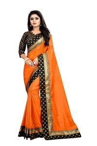 Mahadev Enterprises Orange Paper Silk Saree With Jacquard Blouse Pics ( Code -bbc122f)