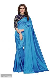 Mahadev Enterprises Turquoise Silk Saree With Jacquard Blouse Pics ( Code -bbc128c)