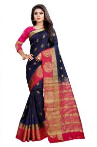 Mahadev Enterprises Blue And Pink Kanjiwaram Silk Saree With Running Blouse Pics ( Code -bbc129a)