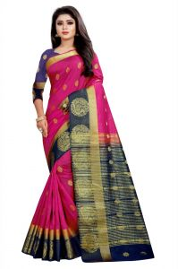 Mahadev Enterprises Pink And Blue Kanjiwaram Silk Saree With Running Blouse Pics ( Code -bbc129c)
