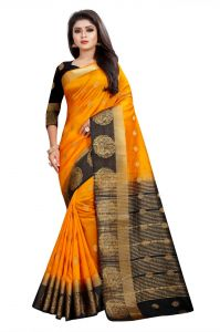 Mahadev Enterprises Orange And Black Kanjiwaram Silk Saree With Running Blouse Pics ( Code -bbc129e)