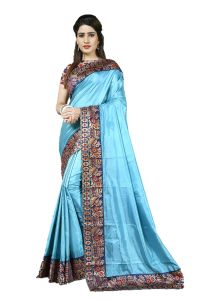 Mahadev Enterprise Turquoise Heavy Paper Silk Saree With Jacquard Blouse Pics ( Code -bbc131b)