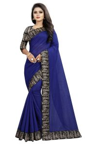 Mahadev Enterprises Blue Chanderi Cotton Saree With Running Blouse Pics ( Code - Bbc135a) )