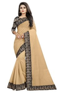 Mahadev Enterprises Chiku Chanderi Cotton Saree With Running Blouse Pics ( Code - Bbc135b)
