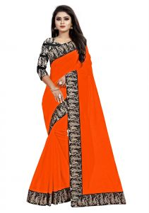 Mahadev Enterprises Dark Orange Chanderi Cotton Saree With Running Blouse Pics ( Code - Bbc135h)