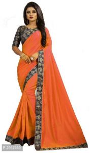 Mahadev Enterprise Orange Paper Silk Saree With Running Blouse Pic(code-bbc136d)