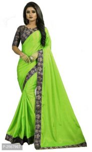 Mahadev Enterprise Green Paper Silk Saree With Running Blouse Pic(code-bbc136e)