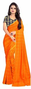 Mahadev Enterprise Orange Panther Plain Silk Saree With Jacquard Blouse Pics ( Code -bbc137b)