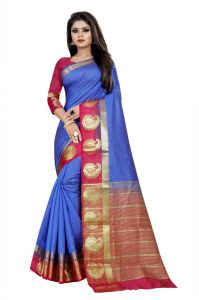 Mahadev Enterprise Blue And Pink Kanjiwaram Silk Saree With Running Blouse Pics ( Code -bbc138c)