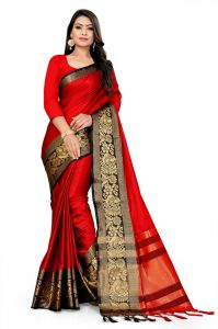 Mahadev Enterprise Red And Black Soft Cotton Silk Saree With Running Blouse Pics ( Code -bbc141a)