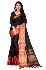 Mahadev Enterprise Black And Red Soft Cotton Silk Saree With Running Blouse Pics ( Code -bbc141b)