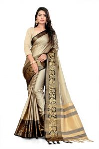 Mahadev Enterprise Beige And Black Soft Cotton Silk Saree With Running Blouse Pics ( Code -bbc141c)