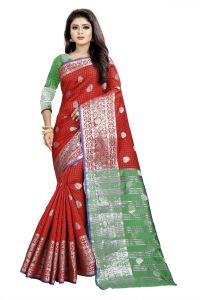 Mahadev Enterprise Red And Green Cotton Silk Silver Jacquard Saree With Running Blouse Pic(code-bbc145a)