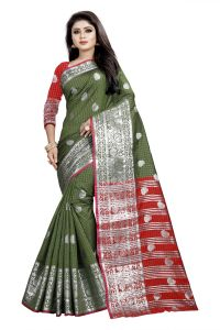 Mahadev Enterprise Mahendi And Red Cotton Silk Silver Jacquard Saree With Running Blouse Pic(code-bbc145b)