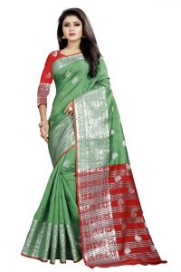 Mahadev Enterprise Green And Red Cotton Silk Silver Jacquard Saree With Running Blouse Pic(code-bbc145c)