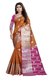 Ahadev Enterprise Chiku And Pink Cotton Silk Silver Jacquard Saree With Running Blouse Pic(code-bbc145d)