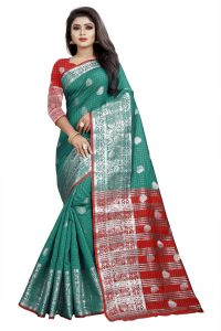Mahadev Enterprise Rama And Red Cotton Silk Silver Jacquard Saree With Running Blouse Pic(code-bbc145e)